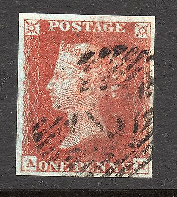 QV 1841 sg8  1d red plate 49 ( A K ) with 4 margins - FOLD