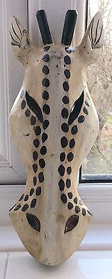 Hand Carved/Hand Painted Wooden Giraffe Wall Mask Decoration  NEW