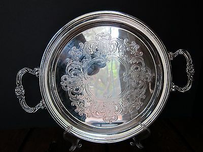 Vintage Double Handled Round Silverplate Butler's Tray
