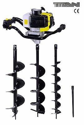52cc Earth Auger Ground Drill Fence Post Hole Borer + 3 Drills + Extension