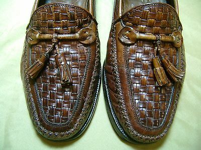 Men's Dress Shoes JOHNSTON & MURPHY Loafer Sz 8 M Brown Leather ITALIAN MADE 967