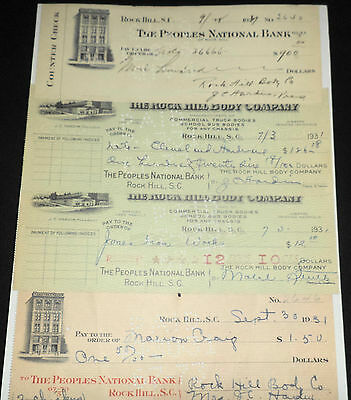 4 Vintage Rock Hill S.C Checks, PEOPLE NATIONAL BANK, The Rock Hill Body Company