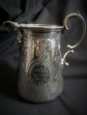 Solid Silver Jug with fine Engraved Design Hallmark London 1868 by Samuel Smily