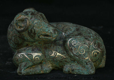 """6""""Old Chinese Dynasty Bronze Fengshui 12 Zodiac Year Sheep Goat Statue Sculpture"""