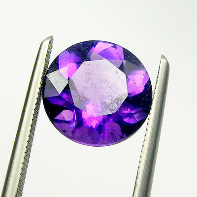 Round Brilliant Cut Natural Amethyst Loose Gemstone - Light to Dark Color Purple