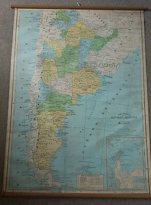 Old Large Hanging Map of Argentina 92cm x 126cm 1980s Mapa Politico