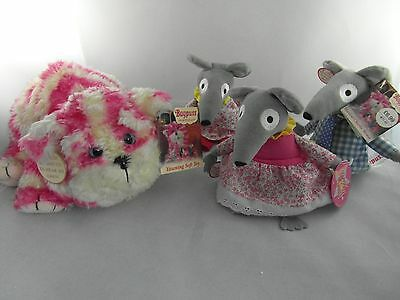 Bagpuss Yawning Soft toy Musical Lizzie Charlie Willie Mice WITH Tags Job lot