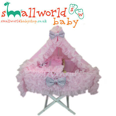 Personalised Romany Style Extra Frilly Pink Bling Moses Basket Cover Set & Drape