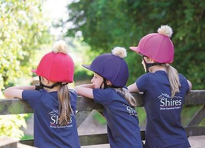 Shires Riding Hat Jockey Skull Cap Cover Silk - Pom Pom Faux Fur One Size (831)