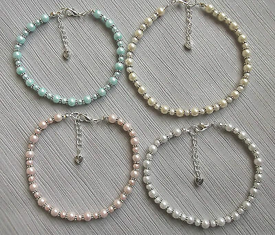 Hand made stretch glass pearl anklet ankle bracelet beach wedding bridal prom