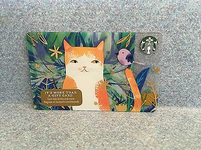 Starbucks 2016 Cat With Bird On Tail Christmas Holiday Gift Card