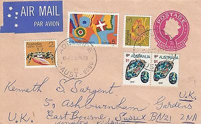 C 1099 Adelaide uprated QE2 7c PSE air  January 1975 cover to UK; 5 stamps