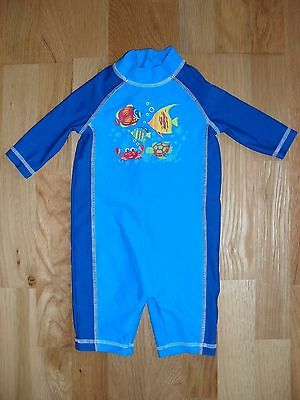 Baby boy Mothercare zipped swimsuit in blue with fish print, 12-18 months