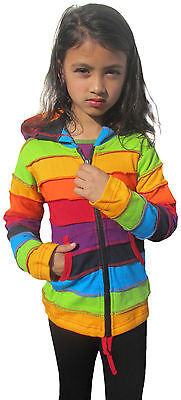 Girls Kids Rainbow Stripe Colorful Hoodie Hippie Bohemian Cute Long Hood Jacket