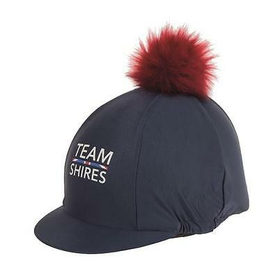 Shires Riding Skull Hat Helmet Cover Silk Pom Pom Stretch Team Navy/Red (9853)