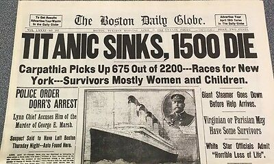 WRAP YOUR SUMMER GIFTS IN  A TITANIC Newspaper April 16,1912. Boston Globe