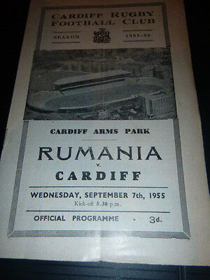 Rare Cardiff V Rumania Rugby Programme  Cardiff 1955