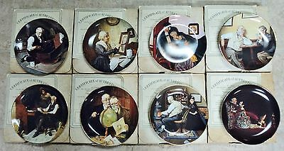Complete Set of 8 Plates - Norman Rockwell - Rockwell's Golden Moments - COAs