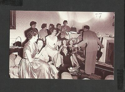 Nostalgia Postcard Ted Heath Trombonist Giving a Party-Band Players Wives 1954