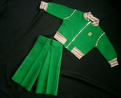 vintage baby boy polyester green two piece bell bottom suit
