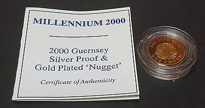 2000 Guernsey Silver Proof and Gold Plated 'Nugget' One Pound