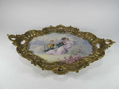 Antique French Sevres Porcelain & Bronze tray # 11591