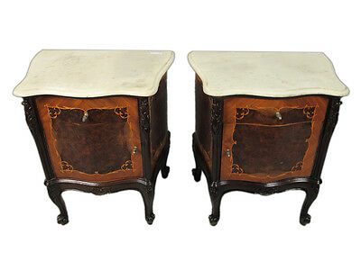 Great Pair of French Louis XV Nightstands Marble Tops H11332