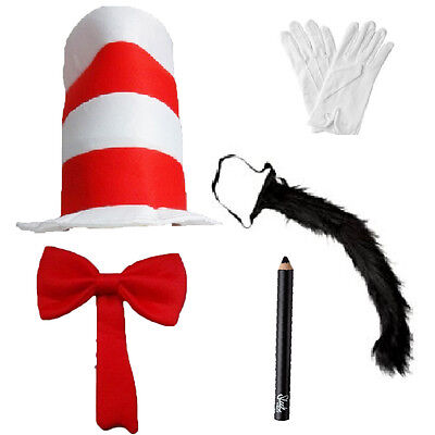 Cat In The Hat Book Day Week Fancy Dress Hat Tie Tail Gloves Make Up