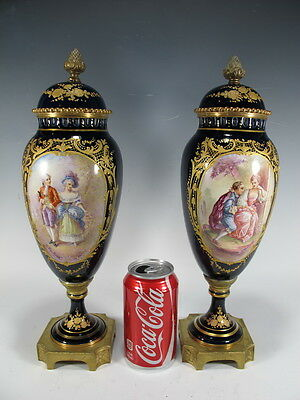 Antique Pair of French Sevres Porcelain & Bronze Urns - H7514