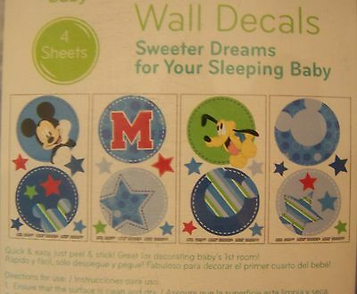 """Mickey Mouse Wall Decals Removable Reusable Disney Baby New 4 sheets 10"""" x17.5"""""""