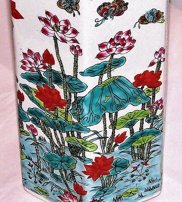 Vintage Chinese Hand-Painted Porcelain Vase Butterflies Lillies Ducks Six-Sided