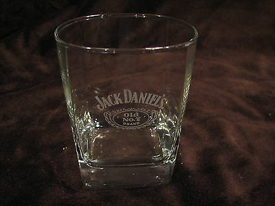 Jack Daniels Old No.7 Whiskey Bourbon Square Rock Glass Printed Label