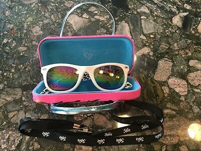 JUSTICE  girls sun glasses, Pink Case And Lanyard mint Animal Print Peace Sign