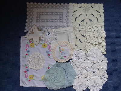 Job Lot of Vintage Doilies/Mats. Embroidery.Crocheting.Lace.