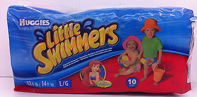 New Huggies Little Swimmers Disposable Swimpants Large 32+ lbs 10 Cnt Mermaid