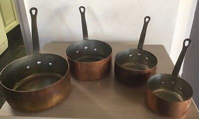 French Vintage Set Four Copper Saucepans  Stamped