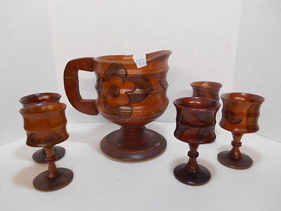 Rare Vintage Carved Wooden Pitcher Tray 5 Cups Goblets