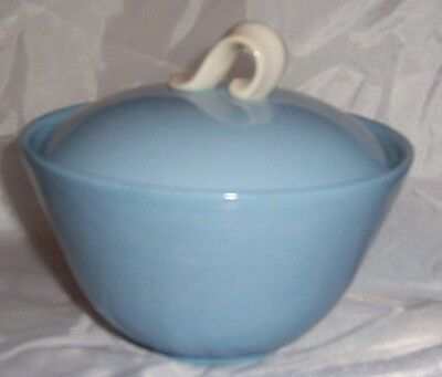 Homer Laughlin Skytone Blue Undecorated Sugar Bowl With Lid