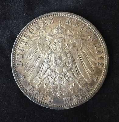 1912-J German States/Hamburg 3 Mark .900 SILVER