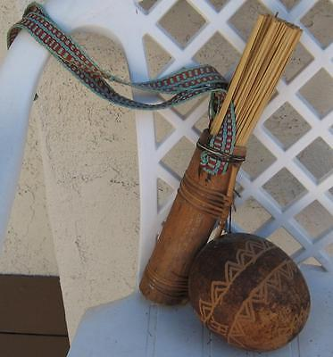 Vintage Papua New Guinea Sepik River Wooden Gourd And Reed Holder