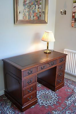 Antique Victorian Style Twin Pedestal Mahogany Desk 4' x 2' Brown Leather
