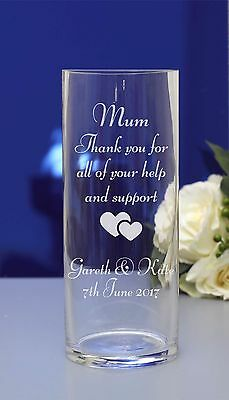 Personalised engraved flower vase. Wedding favour, Mother of the Bride/Groom