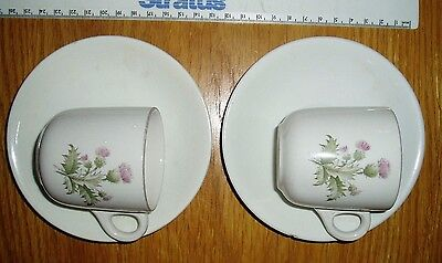 2 x Maddock Royal Vitreous Coffee Cups Thistle Pattern with 2 x Fitting Saucers