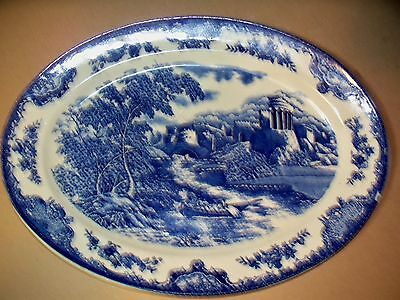 ANTIQUE Blue & White OVAL Platter / Tray Made in Japan Crown Mark