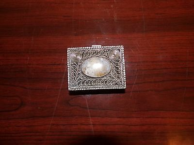 Chinese Silver Filigree Box With Lavender Jade