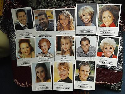 COLLECTION OF 13 x PRE PRINTED SIGNED CAST CARDS FROM CORONATION STREET