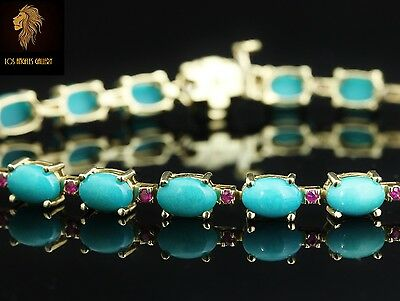 Levian / 13 CT Sleeoing beauty Turquoise & Ruby gemstones bracelet / 14K Gold