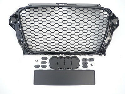 Gloss black honeycomb mesh car grill compatible with Audi A3 8V 2012-2016 S3 RS3