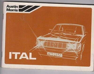 Austin Morris Ital Vintage 1980 Handbook All Ital Models 78 Pages + Dealer Stamp