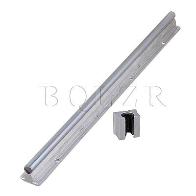 2x Silver BQLZR 40cm Linear Bearing Support Rail w/ Open Linear Motion Block